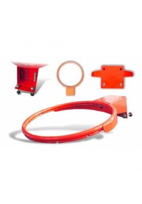 Oranžinis sustiprintas krepšinio lankas su spyruokliniu mechanizmu