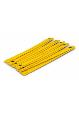 Sulankstytos geltonos zigzaginės kopėtėlės