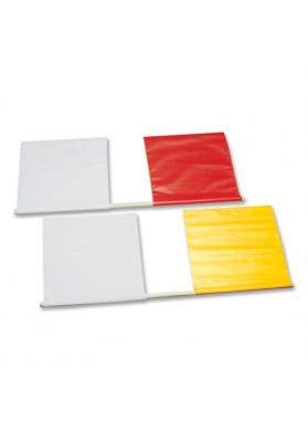 Raudona - balta ir geltona - balta vėliavėlės teisėjams