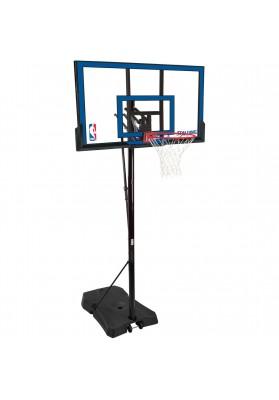 Reguliuojamo aukščio mobilus krepšinio stovas Spalding su skaidria mėlynai apvedžiota lenta