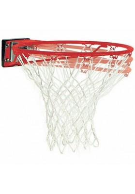 Amortizuojantis raudonas Spalding krepšinio lankas su baltu tinkleliu