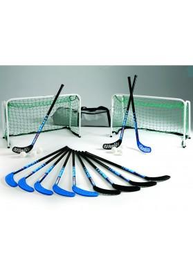 Grindų riedulio rinkinys: vartai, lazdos ir kamuoliukai