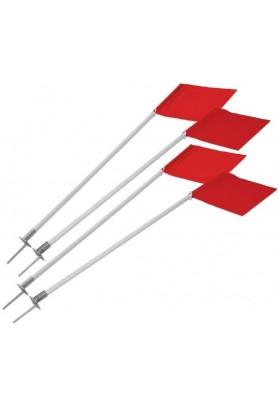 Raudonų vėliavėlių ir įsmeigiamų lazdų komplektas kampiniams
