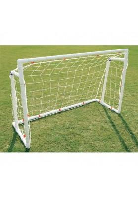 Vaikiški balti plastikiniai futbolo vartai ant žolės