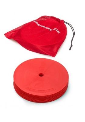 10 raudonų apskritų aikštės žymeklių ir maišelis