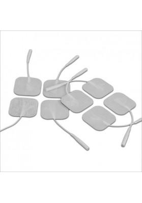 Aštuoni balti elektrodai elektrostimuliatoriui