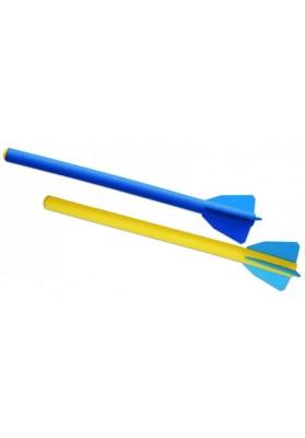 Geltona ir mėlyna treniruočių ietis iš putplasčio